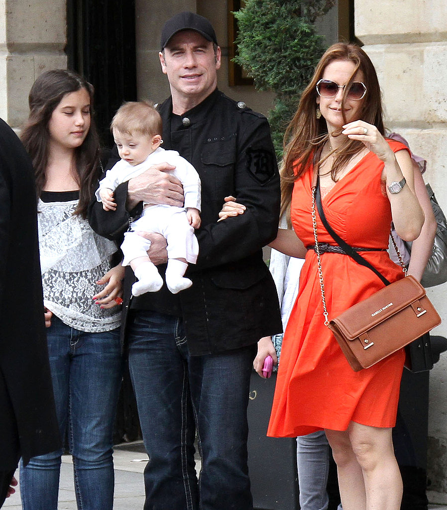 John Travolta and Kelly Preston in Paris with daughter Ella and son Benjamin.