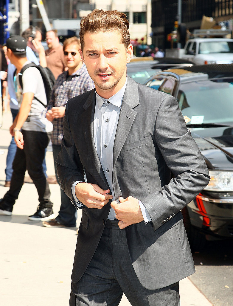 Shia LaBeouf went for a dapper look as he got ready to sit down with David Letterman.