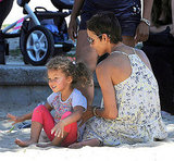 Halle Berry and Nahla Aubry played in the sand.