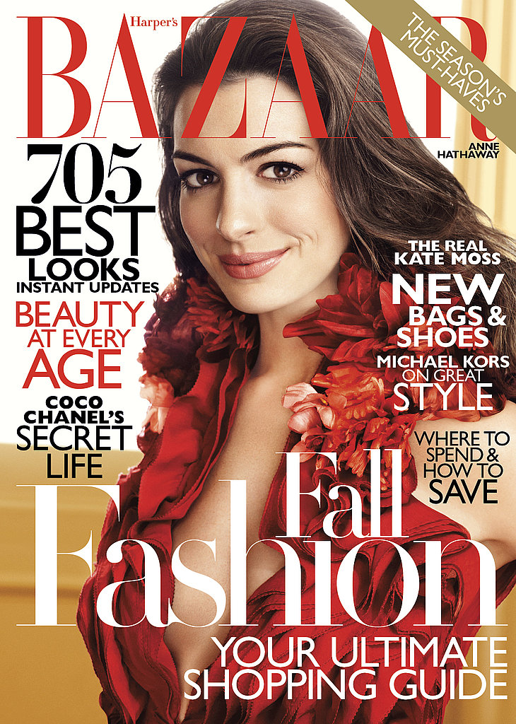 Anne Hathaway on the cover of Harper's Bazaar.