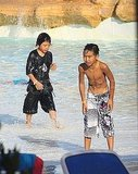 Maddox and Pax Jolie-Pitt splashed around at a water park in Malta.