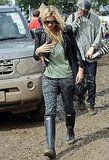 Kate Moss wore Wellies at Glastonbury.