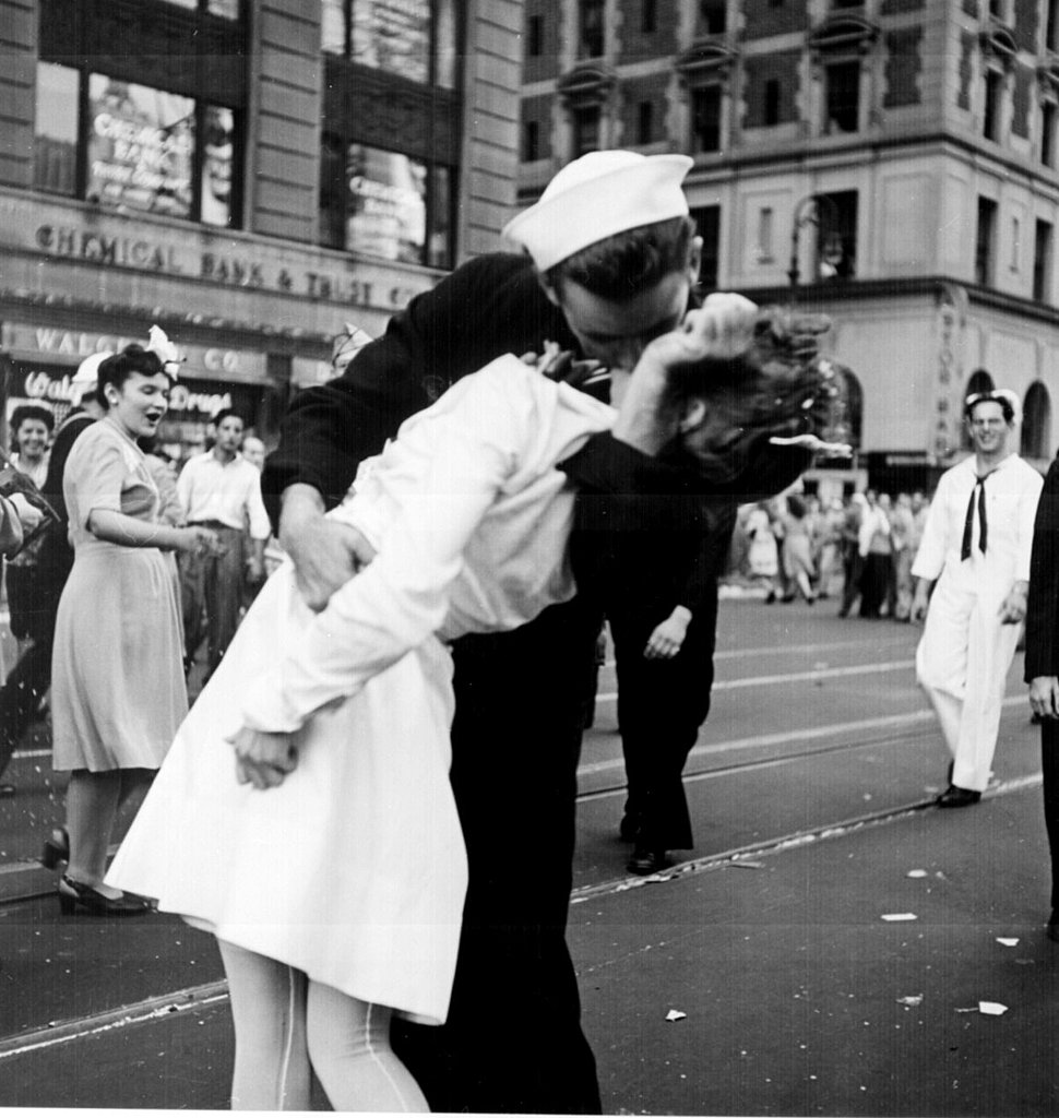 An American sailor kissing a young nurse in this iconic photo from V-J Day in Times Square on Aug. 14, 1945.