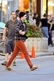 Robert Pattinson wore plaid on the Toronto set of Cosmopolis.