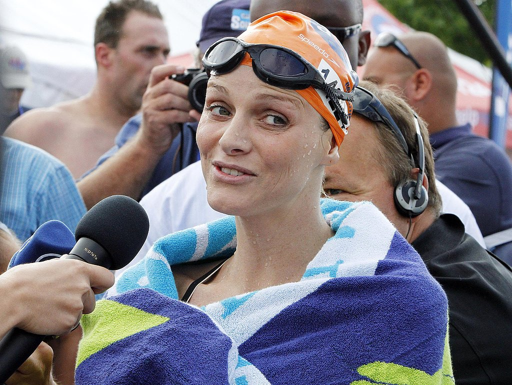 Charlene Wittstock is interviewed after a swim in Pietermaritzburg, South Africa.