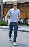 Alexander Skarsgard had lunch at Il Pastaio in Beverly Hills.