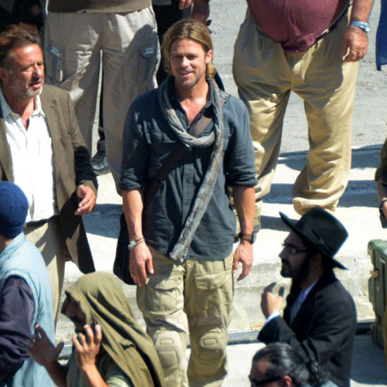 Brad Pitt was in high spirits on set.