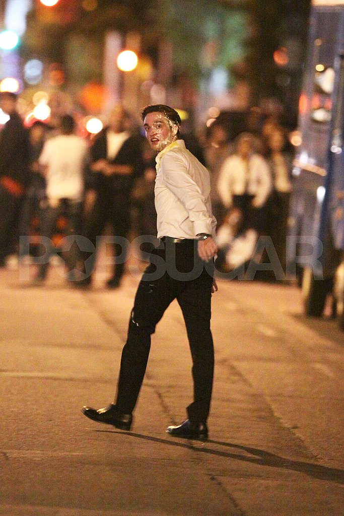 Robert Pattinson with pie on his face.