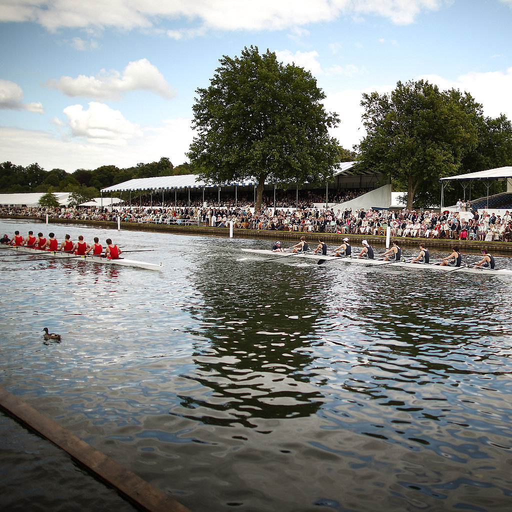 Eton College competes against Birmingham University at the regatta.
