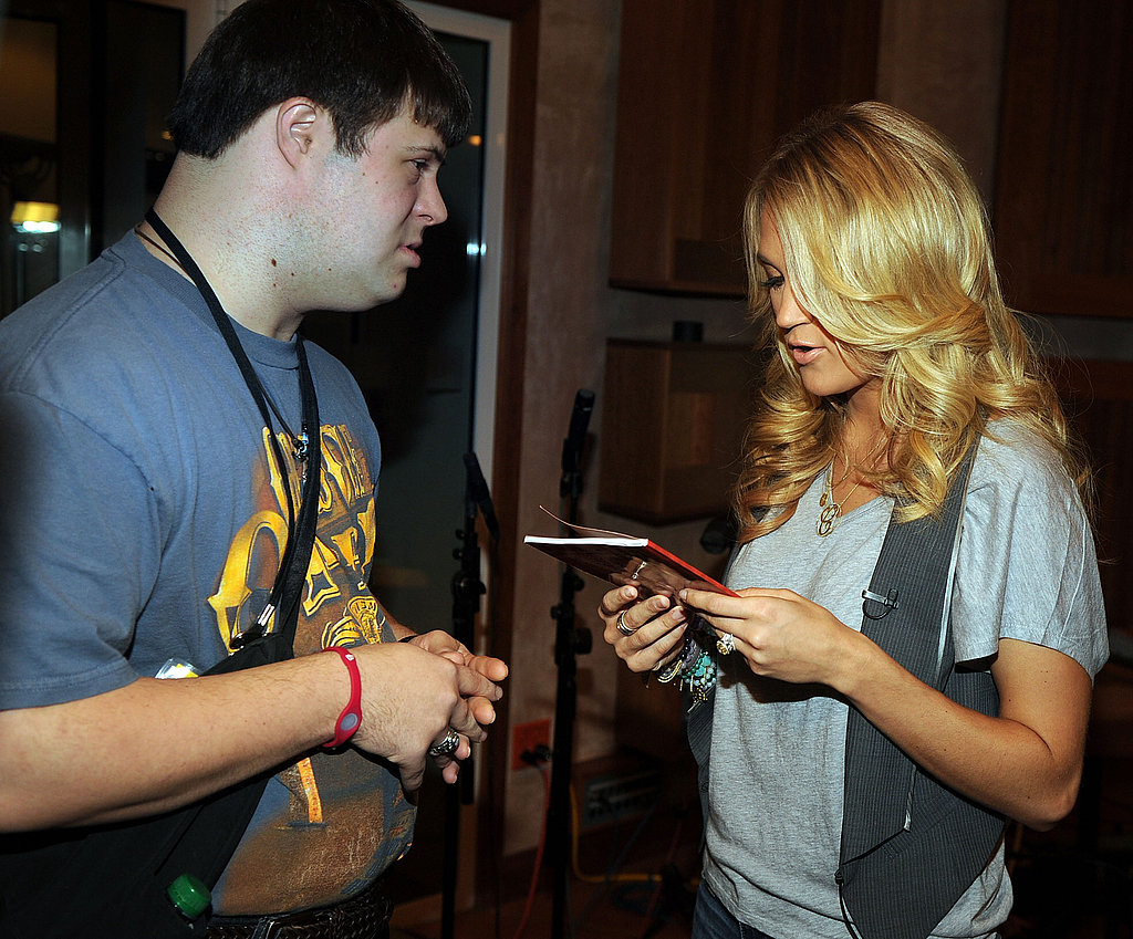 Carrie Underwood signed autographs at the ACM Lifting Lives Music Camp in Nashville.