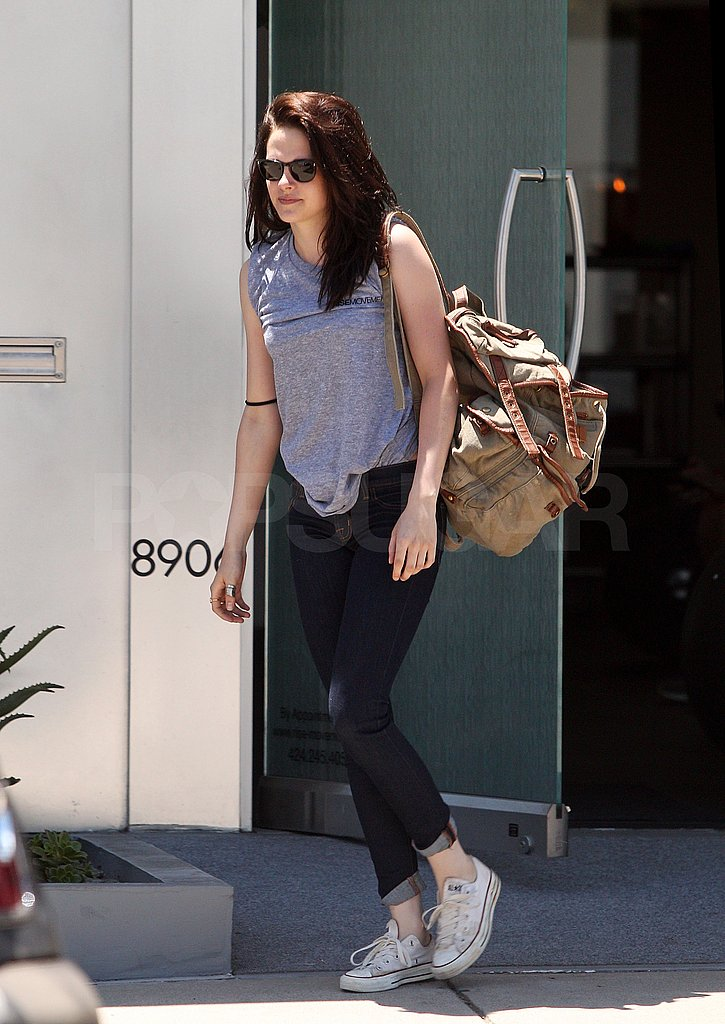 Kristen Stewart carried her favorite backpack.
