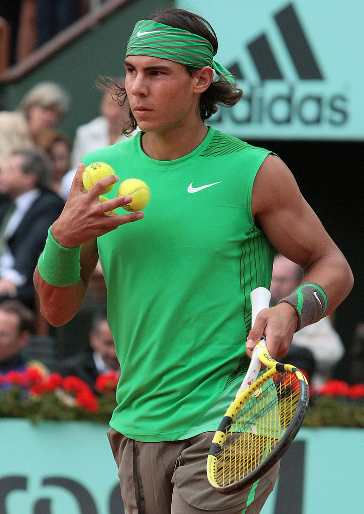 Rafael Nadal sported his signature head and wrist band in his favorite color green at the French Open in 2008.