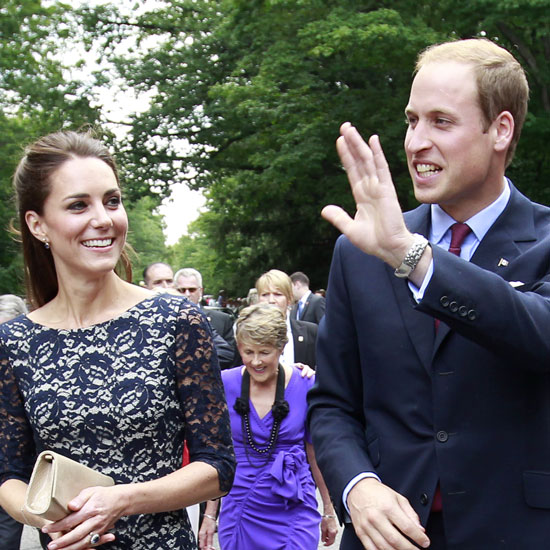 Prince William waves to his adoring fans, as Kate looks like she's one herself.