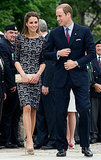 June 30th, 2011 Kate and William arrive in Ottawa for a wreath-laying ceremony at the National War Memorial.   Kate wears an Erdem lace dress, adapted from the Cecile dress in Erdem's Resort 2012 collection. Kate paired the dress with neutral-toned LK Bennett pumps and a matching envelope clutch.