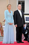 Princess Charlene of Monaco and Prince Albert II of Monaco present themselves after the civil ceremony.