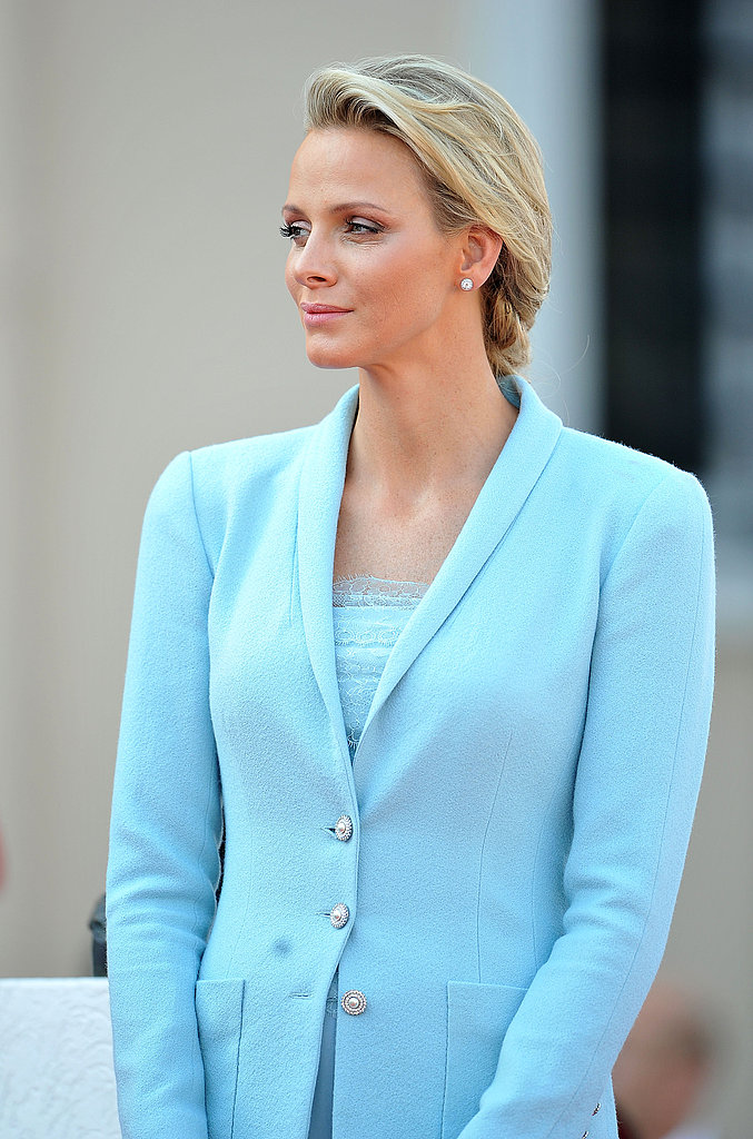 Princess Charlene of Monaco looks on after her civil ceremony.