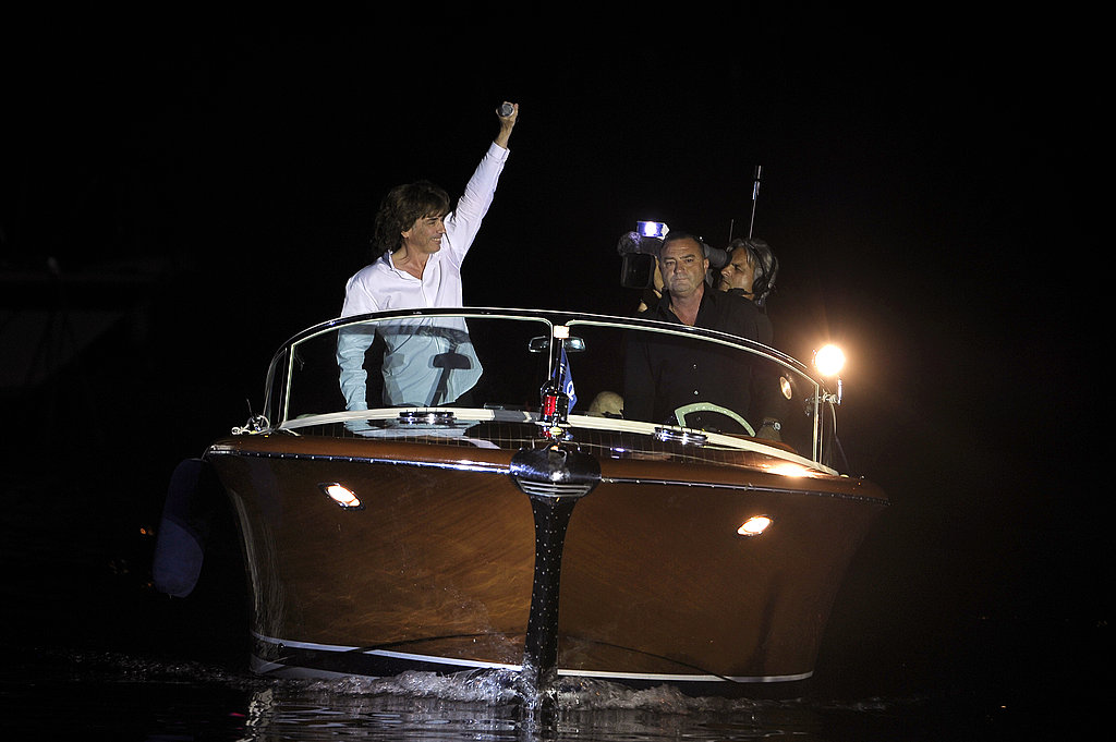 French artist Jean Michel Jarre arrives by boat for his concert to celebrate Princess Charlene of Monaco and Prince Albert II of Monaco's wedding.
