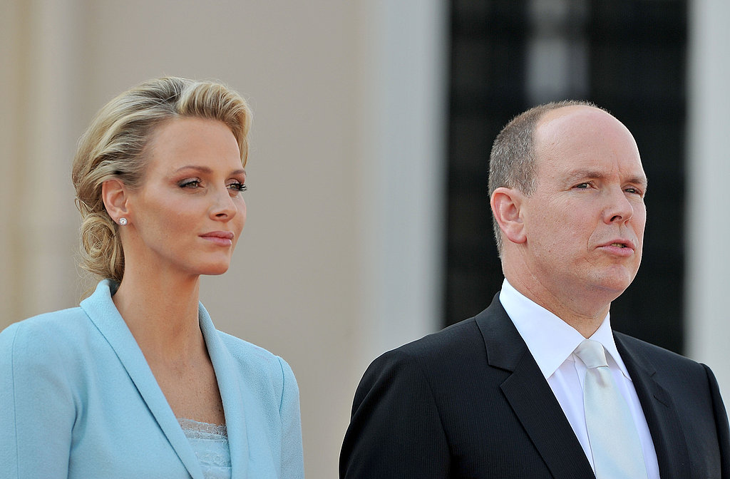 Princess Charlene of Monaco and husband Prince Albert II of Monaco address the crowd.