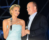 Princess Charlene of Monaco and Prince Albert II of Monaco address the crowd at the concert.