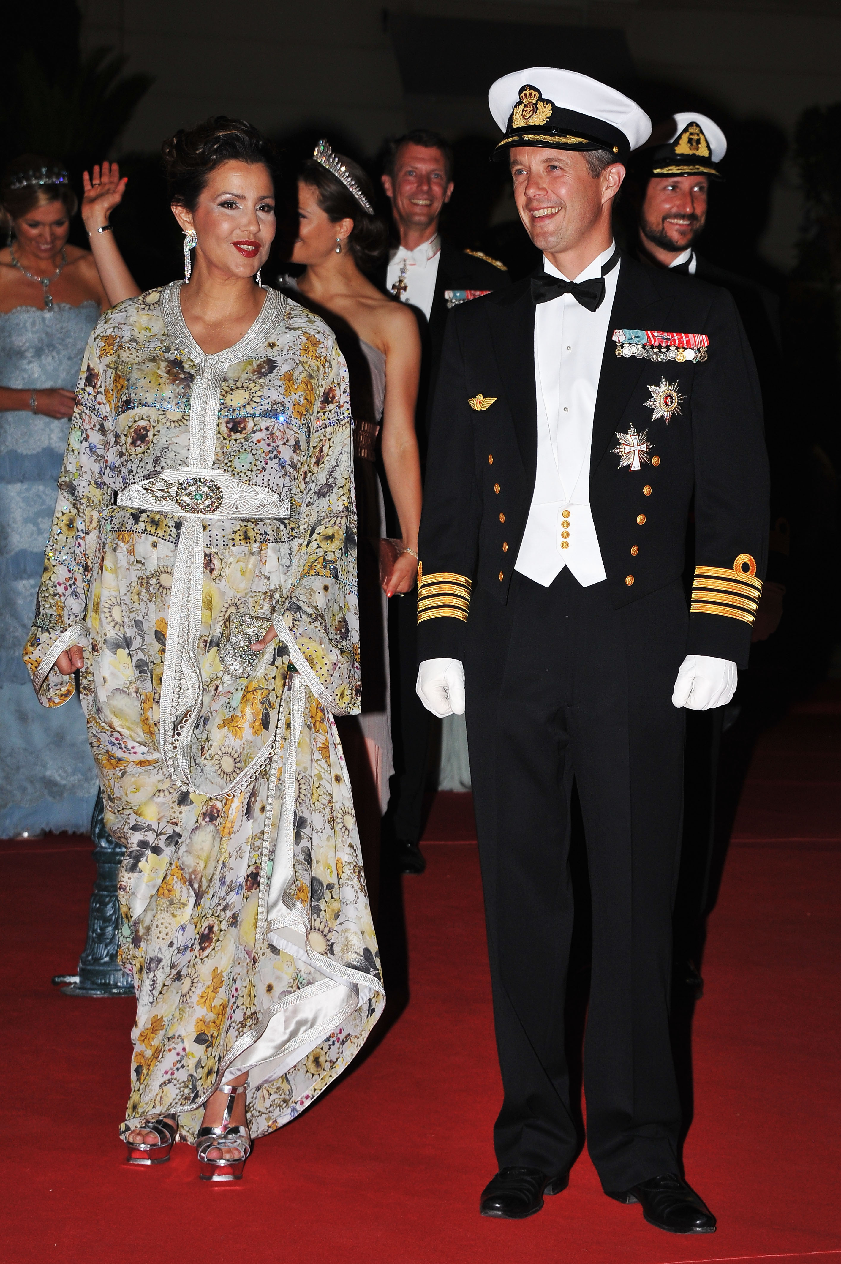 HRH Crown Prince Frederik of Denmark attended a dinner at Opera terraces after the religious wedding ceremony of Prince Albert II of Monaco and Princess Charlene of Monaco.