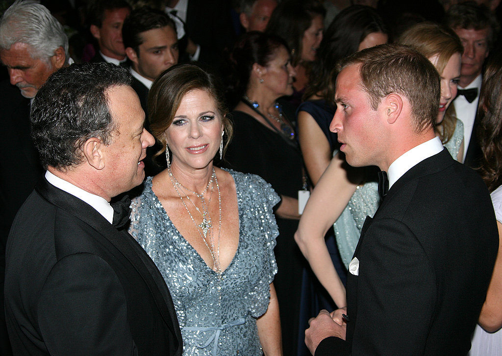 Tom Hanks and Rita Wilson talking to Prince William at the BAFTA Brits to Watch event in LA.