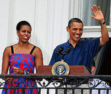 President Barack Obama and First Lady Michelle Obama address the crowd at the White House's Independence Day BBQ.