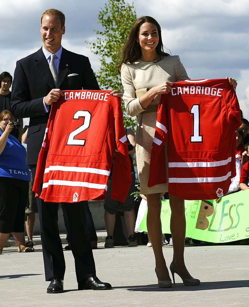 Kate Middleton and Prince William showed off their matching hockey jerseys.