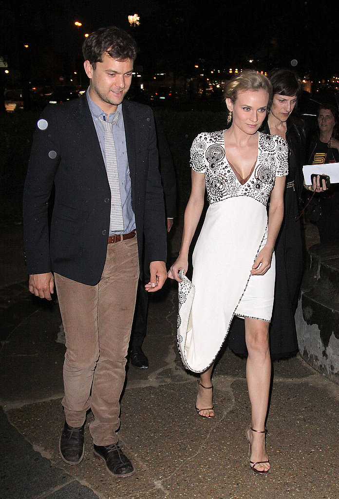 Diane Kruger and Joshua Jackson arrive at the Chanel show in Paris.