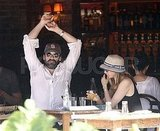 Jon Hamm and Jennifer Westfeldt eat in the West Village.