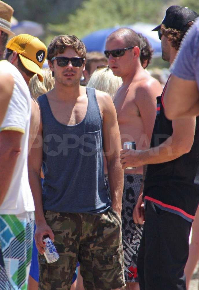 Zac Efron and Brody Jenner at a Malibu beach party.