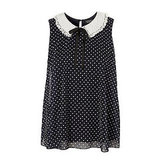 Topshop Polka Dot Crochet Collar Swing Top, $70