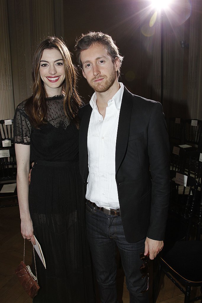 Once inside Anne Hathaway and Adam Shulman posed for a photo.