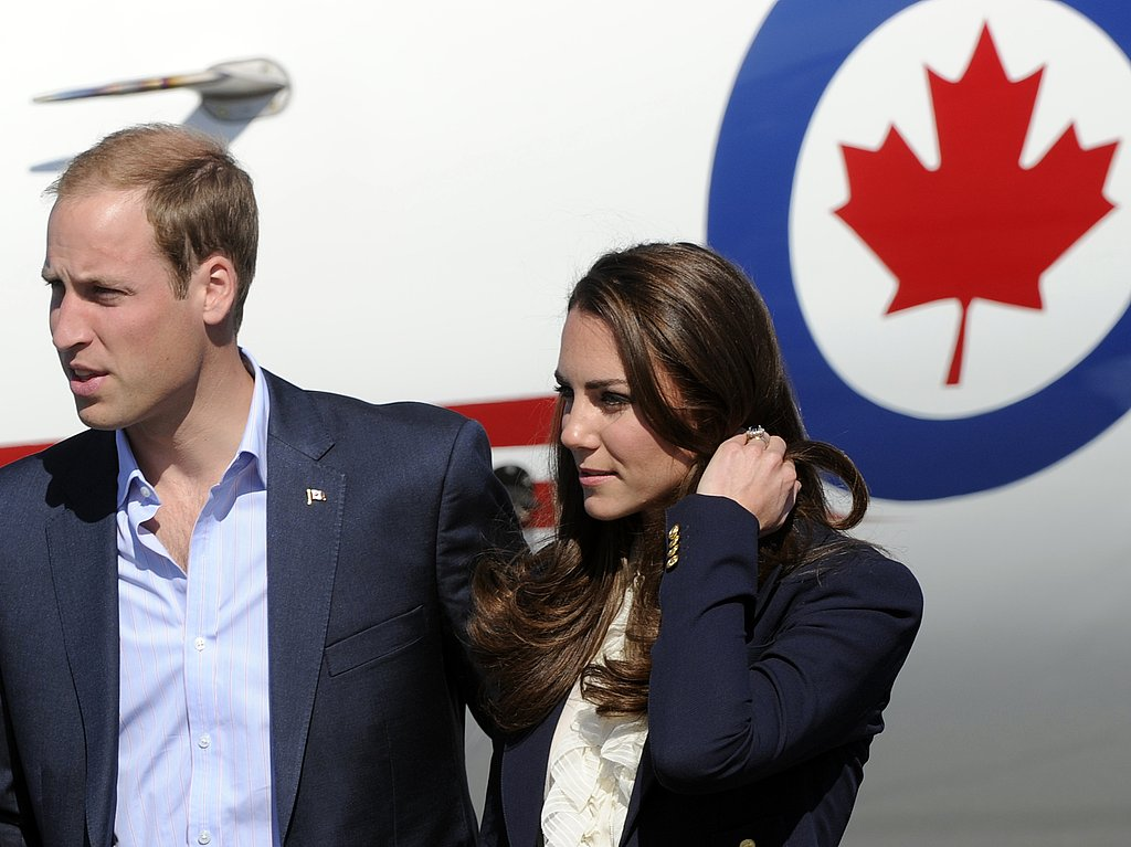Prince William and Kate Middleton in blue blazers in Canada.