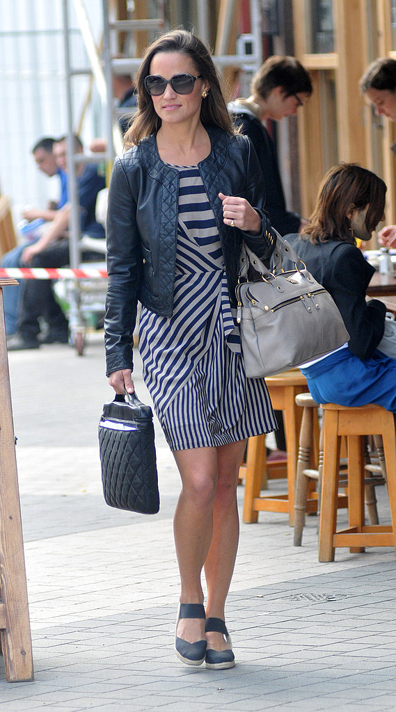 Pippa Middleton wears a striped dress in London.