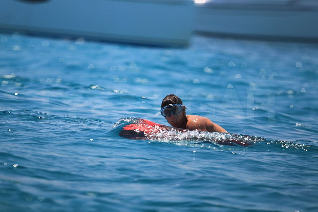 Rafael Nadal strapped on some goggles as he swam.