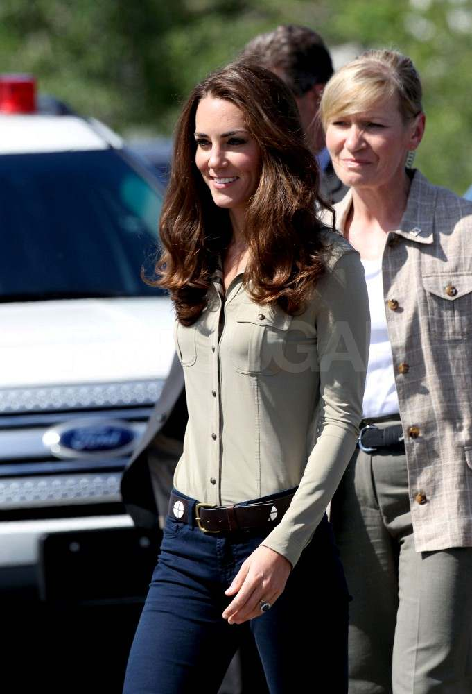 Kate Middleton in jeans and a button up shirt in Canada.