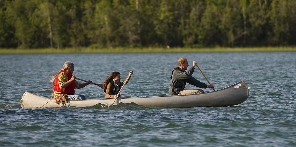 Prince William and Kate Middleton canoed on Blatchford Lake.