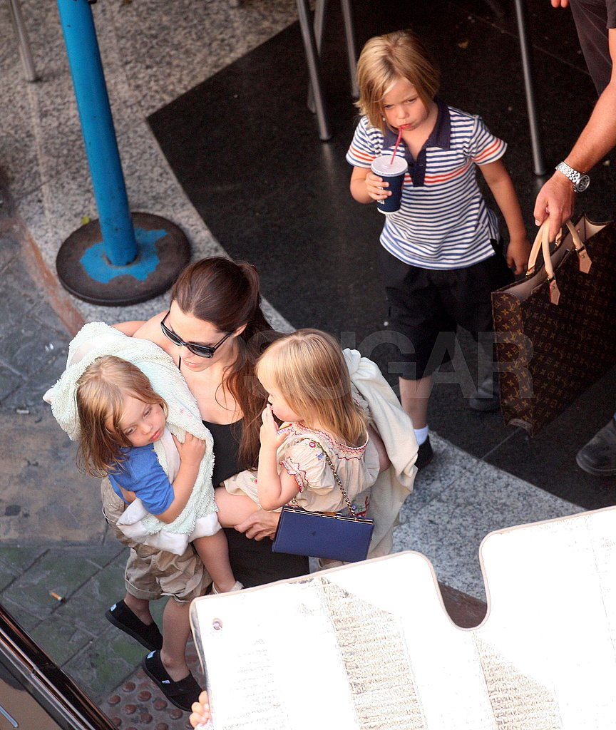 Angelina Jolie with Knox, Vivienne, and Shiloh in Malta.