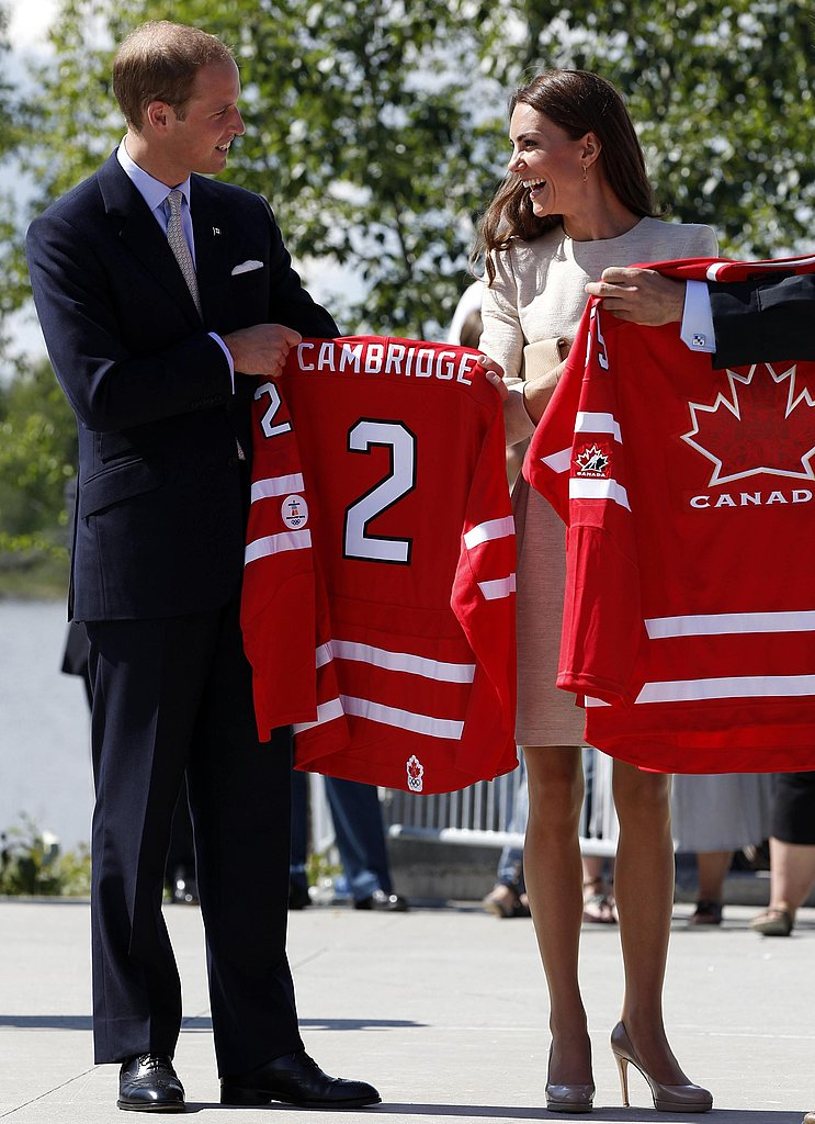 "The ""Cambridges"" were given matching hockey jerseys in Yellowknife, Northwest Territories, Canada."