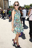 Olivia Palermo in Zara dress and Charlotte Olympia heels