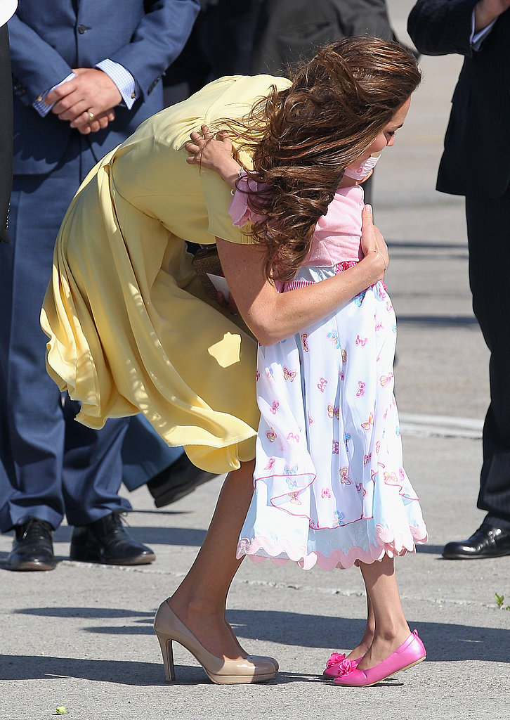 Kate Middleton gave the young girl a big hug before leaving.