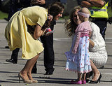 Kate Middleton bent down to chat with a child.