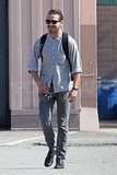 Shia LaBeouf carried a backpack leaving his meeting.