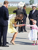 Kate Middleton was greeted by a young girl upon her arrival in Calgary.