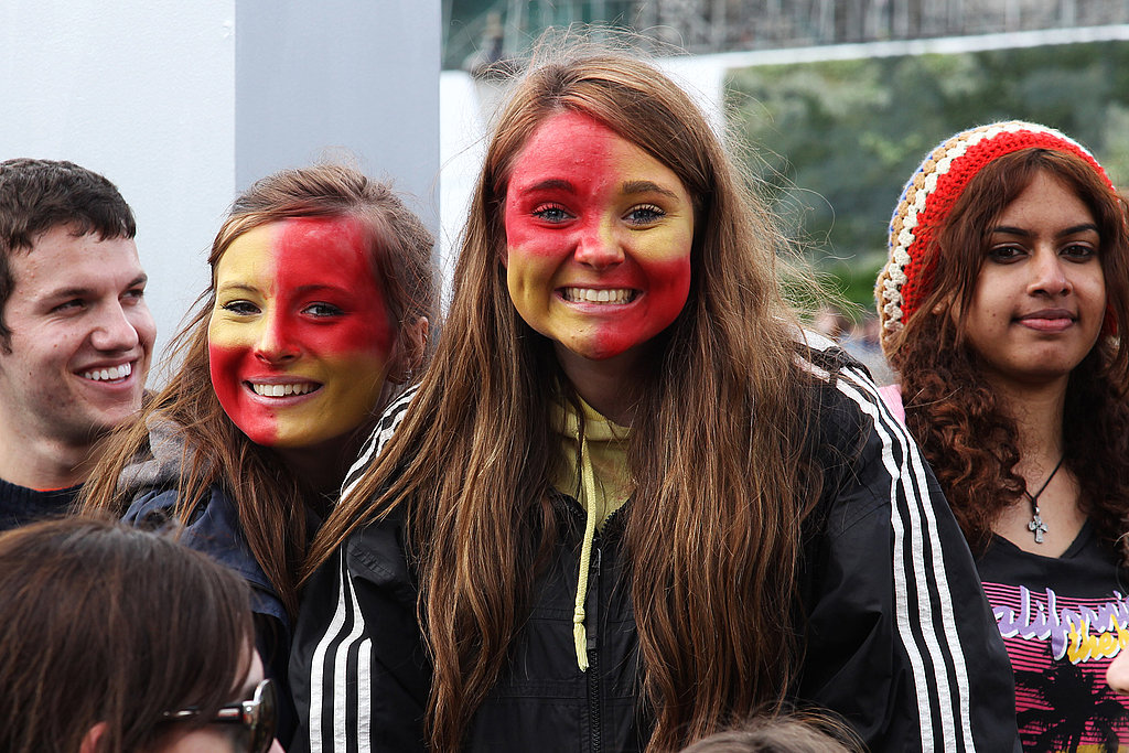 Eager fans wear Gryffindor face paint at the Harry Potter and the Deathly Hallows Part 2 premiere.