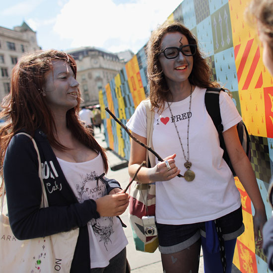 Face-painted fans attend the Harry Potter and the Deathly Hallows Part 2 premiere.