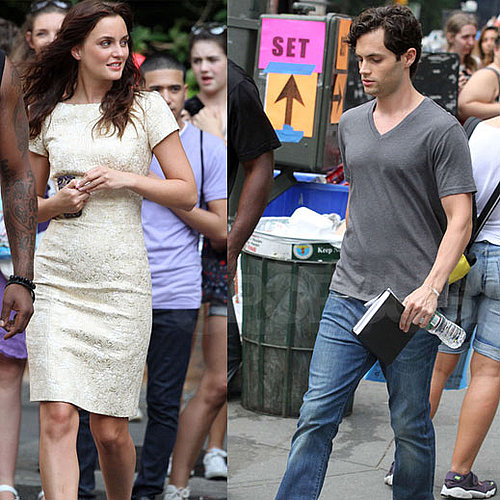 Leighton Meester and Penn Badgley on the NYC Gossip Girl Set