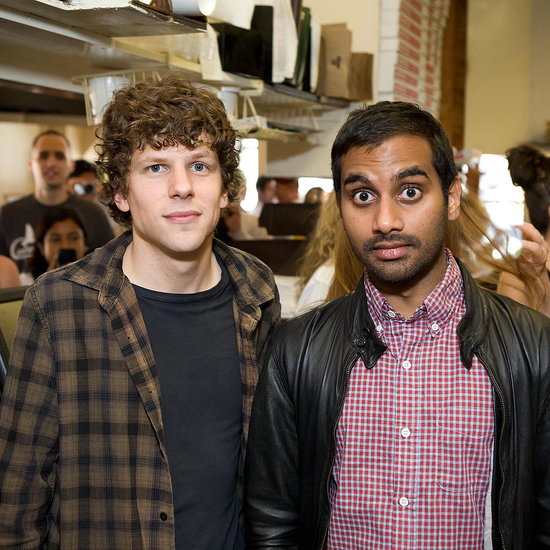 Jesse Eisenberg and Aziz Ansari Serve Up Slices in San Francisco to Promote Their New Comedy