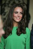 Kate Middleton in a green DVF dress in LA.