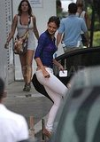 Katie Holmes wears white jeans in Miami.